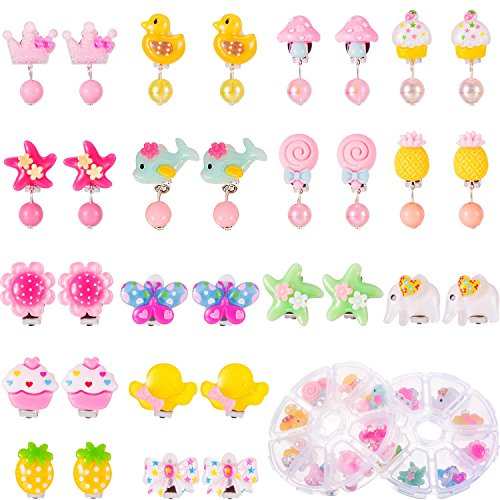 TOODOO 16 Pairs Girls Clip on Earrings Princess Play Earrings with 2 Clear Box Pretend Play Dress up for Party Favor -