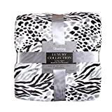 Luxury Collection Ultra Soft Plush Fleece Lightweight All-Season Throw/Bed Blanket (Queen, Black leopard)
