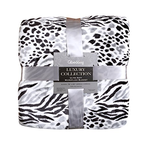 Qbedding Inc. Luxury Collection Ultra Soft Plush Fleece Lightweight All-Season Throw/Bed Blanket (Twin, Black Leopard)