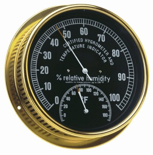 Abbeon HTAB-169 Humidity and Temperature Dial Indicator with Black Face and Brass Case