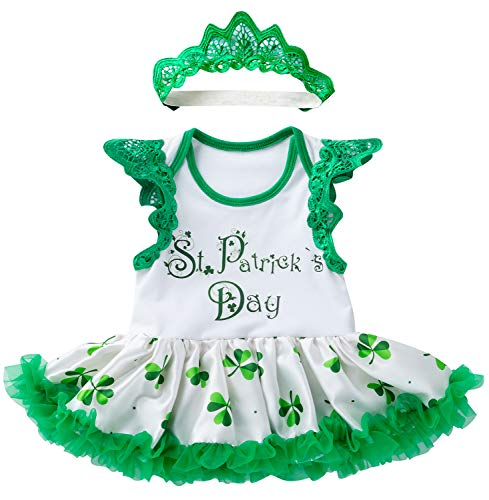 Infant Baby Girl St. Patrick's Day Outfit Bodysuit Tutu Dress Green Headband 2Pcs Clothing Set (Green, 0-3 Months)
