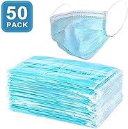 SALUTE 50pcs Face Masks Disposable 3 Layers Dustproof Mask Facial Protective Cover Masks Set Anti-Dust - Blue
