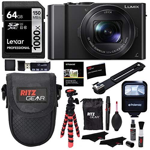 Panasonic Mounting Kit - Panasonic LUMIX DMC-LX10K Camera, Lexar 64GB, Memory Card Wallet, Flash, Ritz Gear Tripod, Cleaning Kit, Case and Accessory Bundle