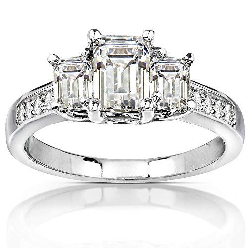 Kobelli Three-Stone Moissanite Engagement Ring Accent 1 3/5 CTW 14k White Gold, Size 6, White Gold