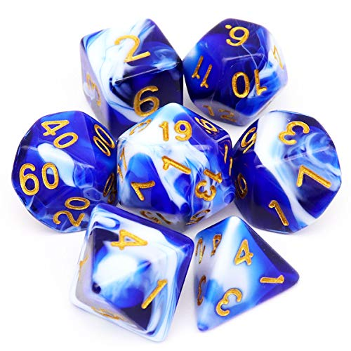 Haxtec Blue White DND Dice Set Swirl Polyhedral D&D Dices for RPG Dungeons and Dragons