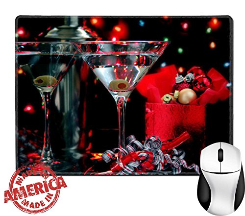 "Luxlady Natural Rubber Mouse Pad/Mat with Stitched Edges 9.8"" x 7.9"" Two martinis in a Christmas setting The image is low key IMAGE ID - Cheap Glassses"