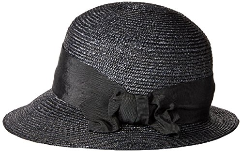 Gottex Women's Darby Fine Milan Straw Packable Sun Hat, Rated UPF 50+ For Max Sun Protection, Black, One Size by Gottex