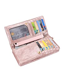 Realer Women's PU Leather Double Zipper Coin Purse Card Holder Case Long Wallet