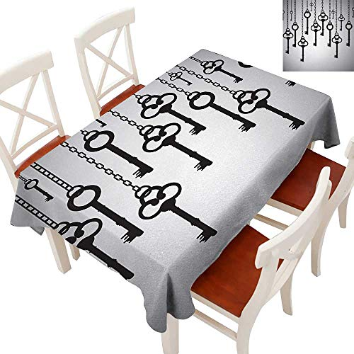 Elegant Waterproof Spillproof Polyester Fabric Table Cover Tablecloths for Rectangle/Oblong/Oval Tables Silhouettes of Old Keys Hanging Chain Links Unlocking Secure Home Opener Light Grey Black 60
