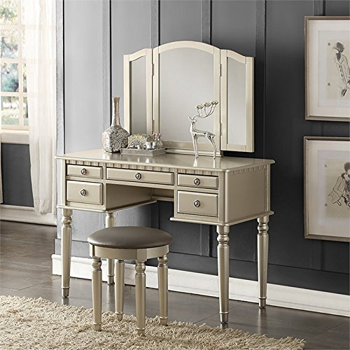 Bobkona F4079 St. Croix Collection Vanity Set with Stool, Silver - Furniture Vanity