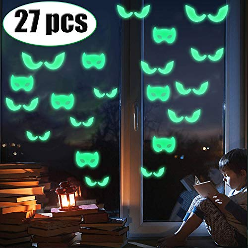 27 Pcs Halloween Decorations Clearance Decals Wall Windows Stickers Halloween Glow in the Dark Party Luminous Stickers Scary Bats Ghost Peeping Eyes Halloween Decor for Kids Room Wall Windows Door for $<!--$7.99-->