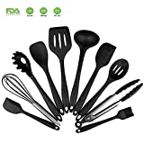 Silicone Utensils Set - Kitchen Cooking Tools Heat Resistant Non Stick Baking Tools - Spatulas,Whist,Turner,Slotted Spatulas, Slotted Spoon,Noodle Spoon,Soup Spoon,Tongs,Brush(Black,set of 10)
