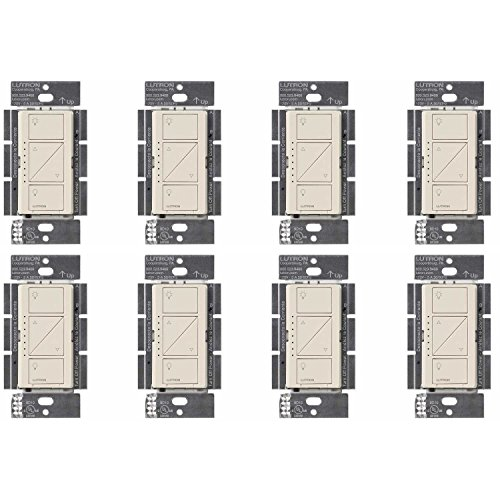 Lutron Caseta Wireless Smart Lighting Dimmer Switch for Wall & Ceiling Lights, PD-6WCL-LA, Light Almond, Works with Alexa, Apple HomeKit, and the Google Assistant (8-pack) (light almond)