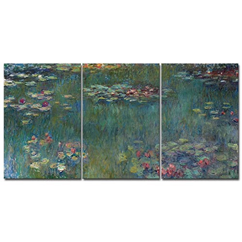 Famous Art Reproductions - Wieco Art Water Lilies Canvas Prints Wall Art of Claude Monet Famous Oil Paintings Reproduction Artwork 3 pcs Large Classic Flower Lake Pictures Giclee Artwork for Bedroom Living Room Home Decorations