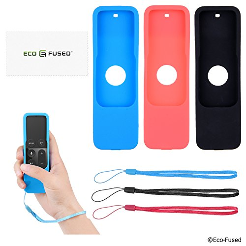 Apple TV Remote Control Cover Case with Wrist Strap - 3 Pack (Black Red Blue) - 4th Gen - Protective Silicone Shield - Shock Absorbing