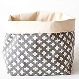 Lily & Logan Foldover Storage Basket/Shelf Bin - 100% Natural Fabric- Organizer for Home, Office, Bedroom, Closet, Laundry, Toys - 10''x9''x12'' - Grey Swiss Cross Pattern