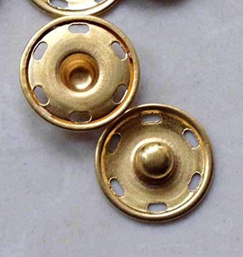 "pawong spring press snap sew on button Large, 3/4"" Golden metal 24 set"