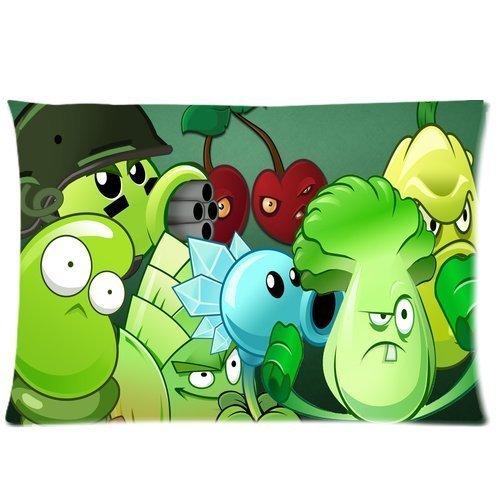 Plants vs Zombies Pillowcase Custom Plants Vs Zombies Pillowcase 20x26 Rectangle Throw Pillow Cover Soft Cotton Zippered Cushion Case Two Sides Pattern Printed