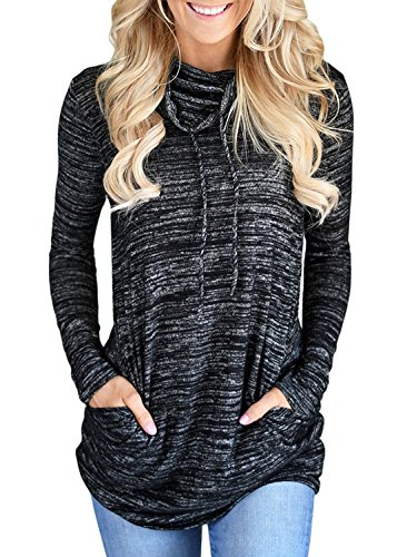 Womens Long Sleeve Cowl Neck Casual Loose Tunic Pullover Sweatshirt Lightweight Blouse Tops with Pockets Black XL 16 18