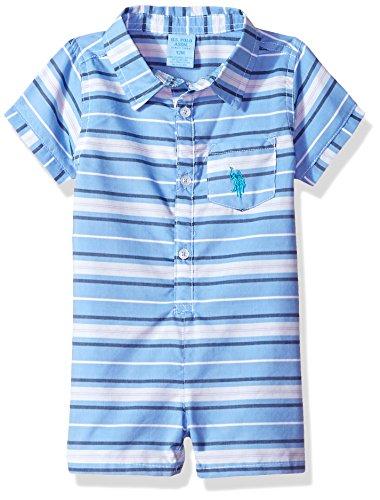U.S. Polo Assn. Baby Boys Romper, Blue Stripes Multi Plaid, 18M