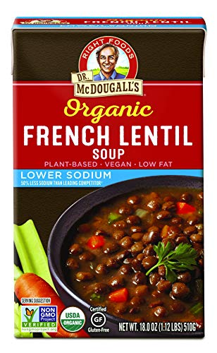 Dr. Mcdougall's Right Foods Soup, French Lentil, Lower Sodium, 17.6 Ounce (Pack of - Soup Organic French