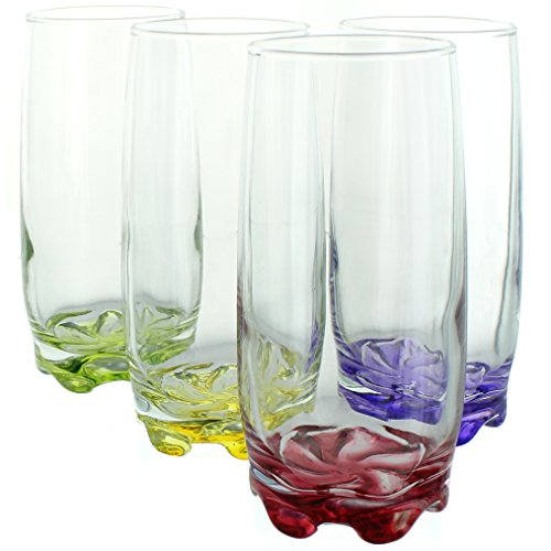 Splash of Color Water & Beverage Highball Glasses, 12.5 Ounce - Set of 4 by Zanzer