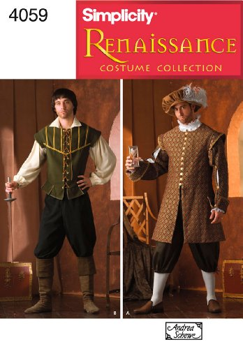 Simplicity Men's Renaissance Faire Costume Sewing Patterns, Sizes XS-XL