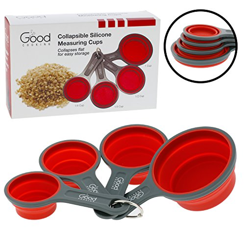 Collapsible Measuring Cups - 4pc Nesting Silicone Measuring Cup Set (BPA Free)- 1/4 Cup, 1/2 Cup, 3/4 Cup, 1 Cup- By Good (Collapsible Cups Set)