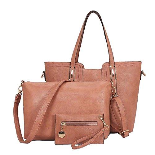 Bolsos Piel Para Mujer Moda Tote Bag Bolsos Bolsa De Mensajero Y Carteras 3 Piezas Verde Pink