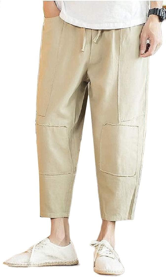 Macondoo Men Ankle Harem Loose Comfy Casual Elastic Waist Pocket Pants