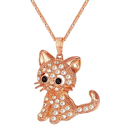 U7 Cat Jewelry Women Girls Link Fashion Platinum/18K Gold Plated Rhinestone Crystal Kitty Cat Pendant Necklace (Rose Gold)