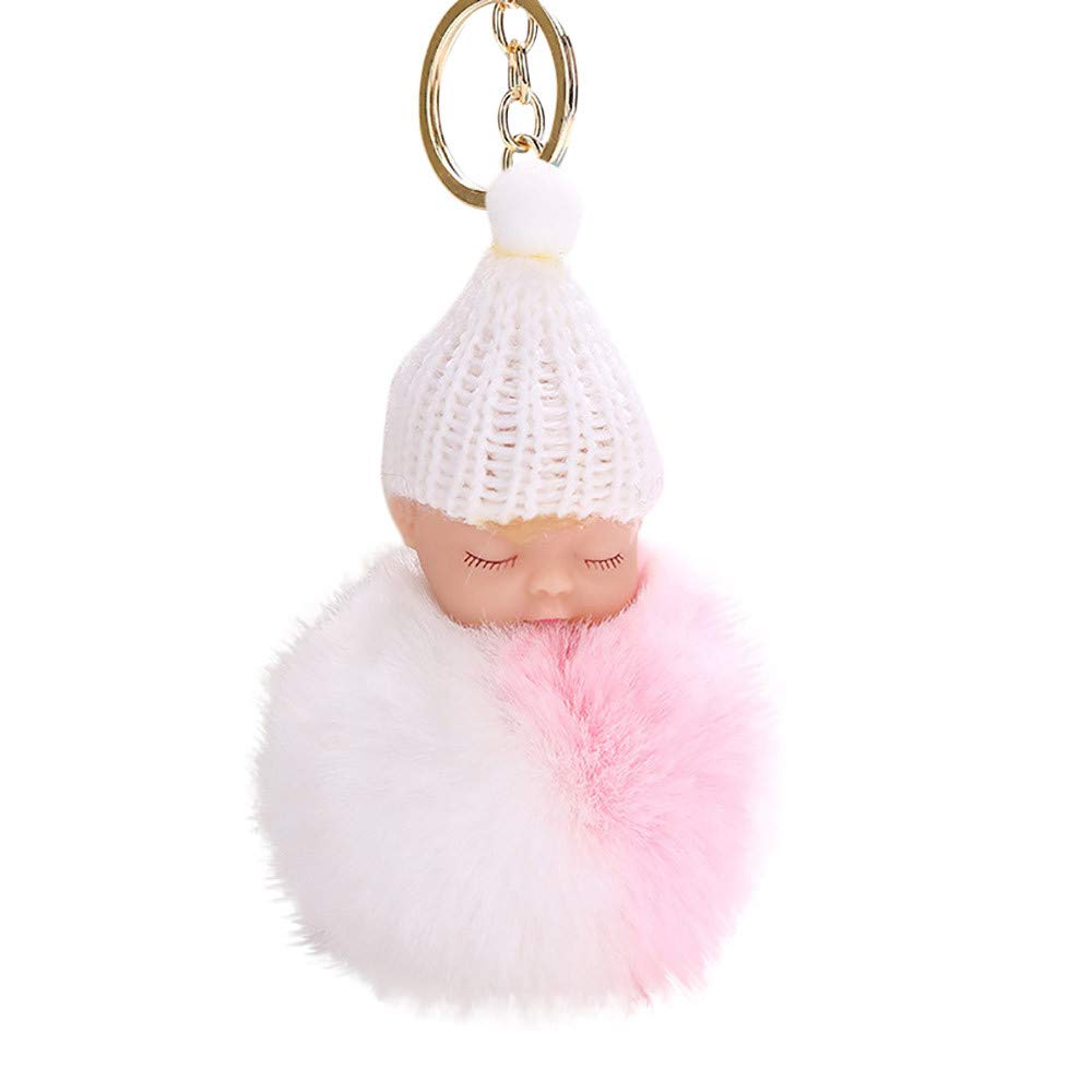 Gbell Cute Fluffy Pom Poms Baby Doll Puffy Key Chains Ball Keyrings Bags Charm Pendant for Women Girls,1Pcs 15x8 cm (H)