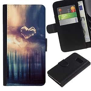 Paccase / Billetera de Cuero Caso del tirón Titular de la tarjeta Carcasa Funda para - Heart Cloud Forrest - Samsung Galaxy S6 SM-G920