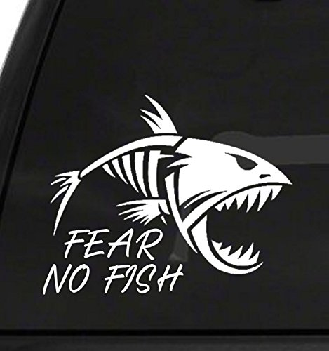 Stickyzilla Fear No Fish Vinyl Car Window Decal 5.5in x 7in Fishing Decal