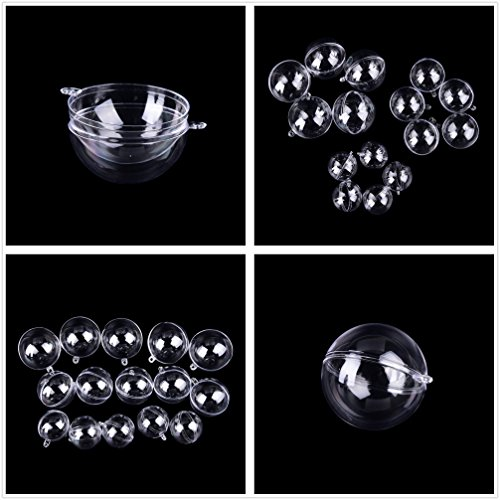 (Acrylic Clear Christmas Ball Ornaments, DIY Bath Bomb Mold, Plastic Bath Bomb molds, Craft Plastic Ball Ornament for Wedding Party Christmas Decor with 5 Size 3cm,4cm,5cm,6cm,7cm/Pack)
