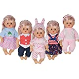 e593c4c3e0f Huang Cheng Toys 5 PCS Alive Lovely Baby Doll Reborn Newborn Clothes Dress  for 12 Inch
