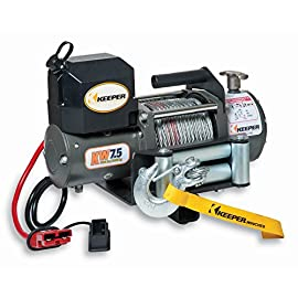 KEEPER KW75122RM-1 12V DC Rapid Mount Portable Winch with Wireless Control – 7500 lbs. Capacity
