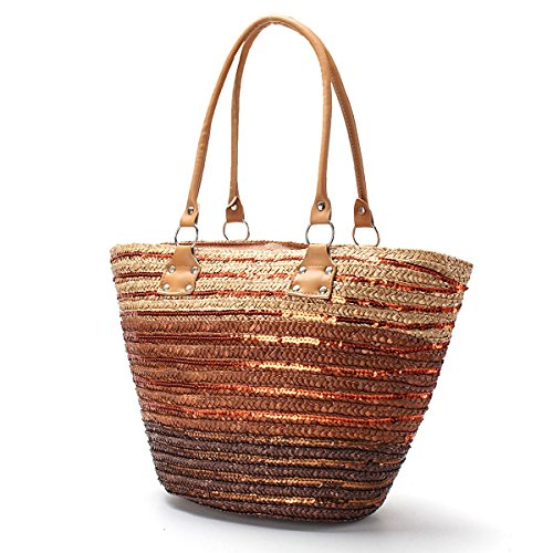 New Brown Straw - OURBAG Women New Summer Trendy Straw Beach Large Tote Shoulder Bag Brown Medium
