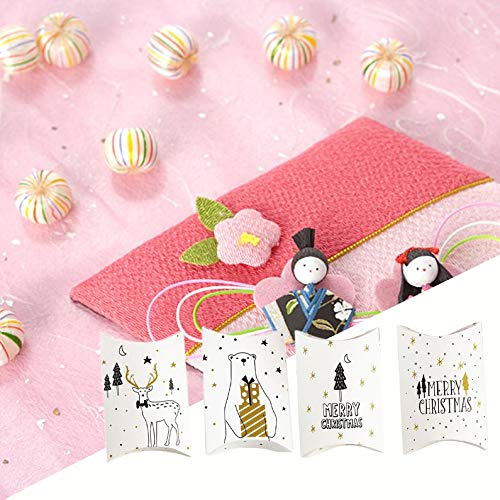 Appearancees Christmas Box Pillow Shape Gift Wrapping Carton Candy Gift Box for Party