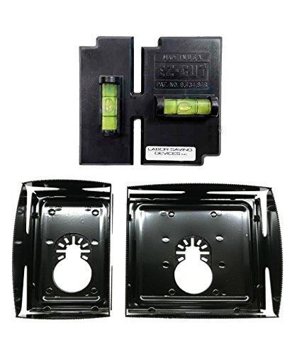 APT/EZ-Cut Level Template 53-315 + QBit SQ1000-S-BK + SQ1000-D-BK Oscillating Tool Saw Blades 1 & 2 Gang 3PC Cut-in Kit (BK=Black Finish (Black) ()