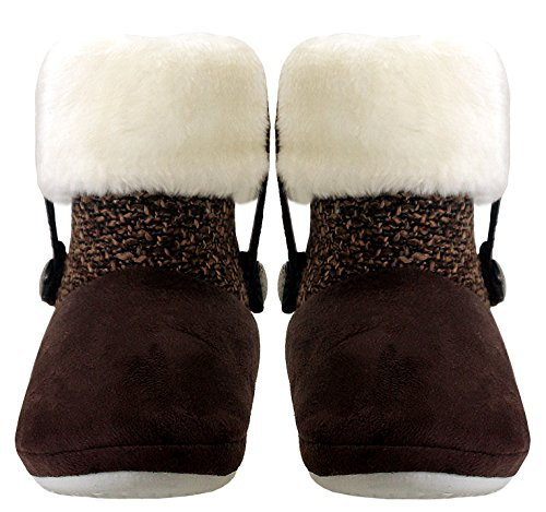 Brun Damer Foret Jul Pels Uk Varm Tøfler Størrelse Vinter Bootee 7 2 Fleece Womens Kjølere Ankelen IdqIZ