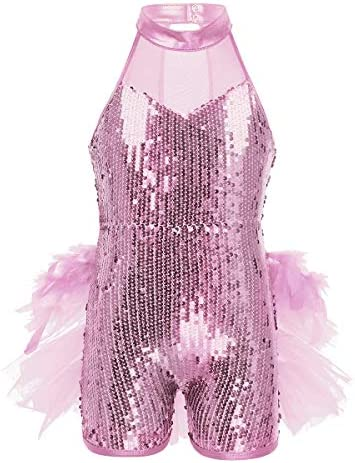 Aislor Kids Girls Shiny Sequins Mock Neck Jazz Latin Ballet Dance Leotard Jumpsuit Dancewear Costumes