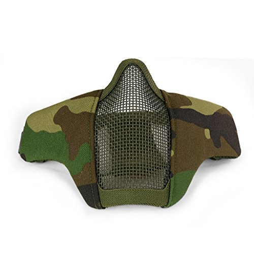 Simways Half Face Mask Foldable for Airsoft Paintball Tactical Military Protective Steel Mesh Mask (Woodland) - Mask Military Paintball