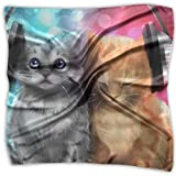 Polyester Lady's Handkerchief Scarf Women's DJ Cats Square Satin Headscarf M