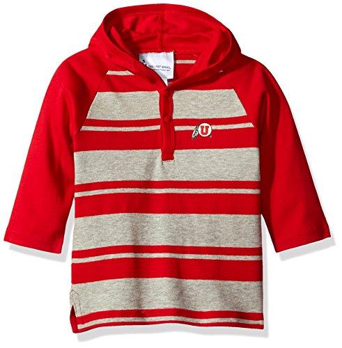 (Two Feet Ahead NCAA Utah Utes Toddler Boys Rugby Long Sleeve Hooded Shirt, Size 2,)