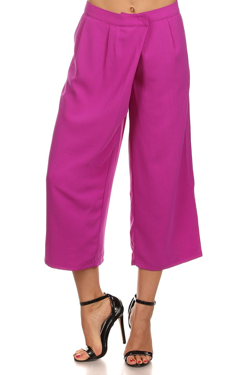 MeshMe Berry - Bright Purple Wide Leg Crop Culottes Style Pocketed Pants