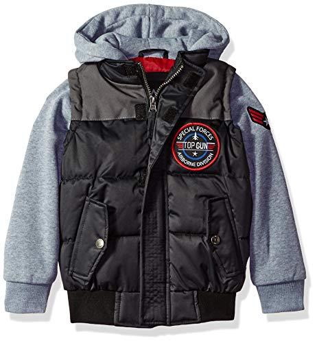 iXtreme Boys' Little TOP Gun Bomber Jacket, Black, 6]()