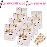 Yaaaaasss! Unicorn Candy Bags Goodie Small Gift Toy Treat Favor Bags for Kids Unicorn Themed Baby Shower Birthday Party Supplies, Set of 24