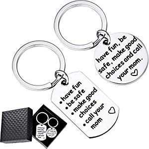 """Blulu 2 Pieces Gift Keychains Stainless Steel Key Chain with""""Have Fun, Be Safe, Make Good Choices and Call Your Mom"""" and Gift Box for Mother's Day Birthday Day Gifts"""