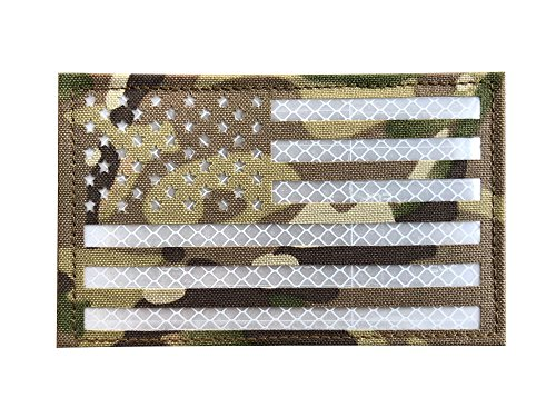 3x5 Large Multicam Reflective US USA American Flag Patch Tac